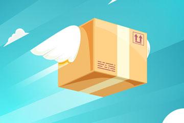 卡通戴翅膀飞行的包裹矢量素材