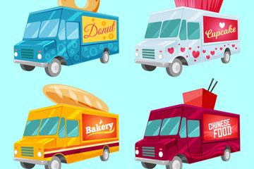 4款时尚快餐车设计矢量素材