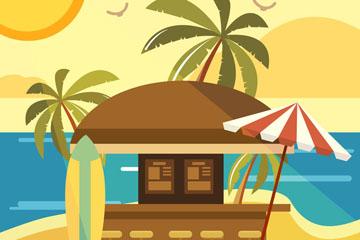 创意度假沙滩上的酒吧矢量素材