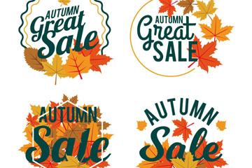 4款创意秋季枫叶促销标签矢量图