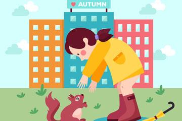 卡通雨后的女孩和松鼠矢量素材