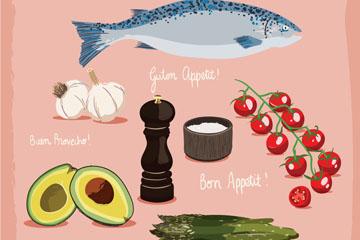 7款新鲜蔬菜海鲜矢量素材