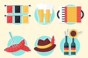 6款创意啤酒节贴纸矢量素材
