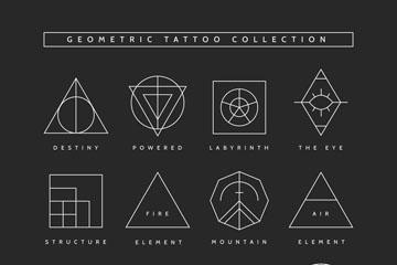 12款白色纹身图案设计矢量图