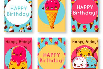 6款可爱冰淇淋生日卡片矢量素材