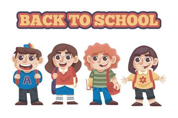4款卡通返校儿童设计矢量素材