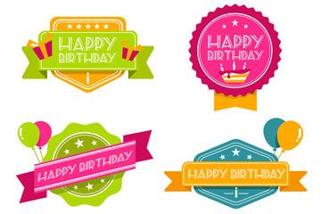 4款彩色生日快乐徽章设计矢量素材