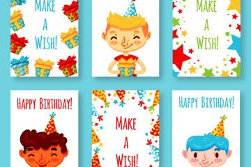 6款可爱男孩生日贺卡矢量素材