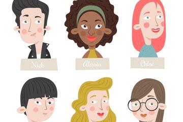 6款彩绘标注姓名的人物头像矢量图