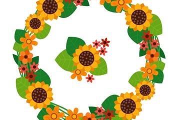 创意向日葵花花环矢量素材
