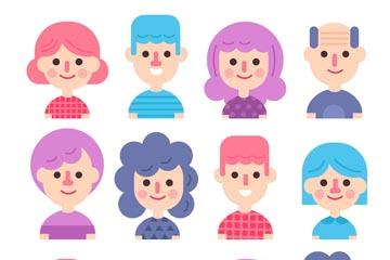 12款彩色人物头像矢量素材