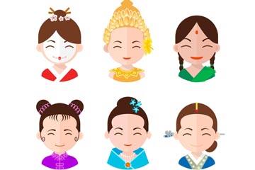 6款不同国家服饰女子头像矢量图