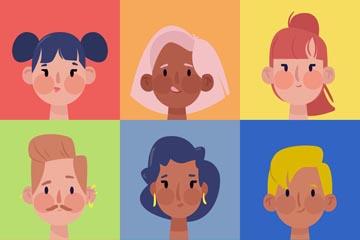 9款创意人物头像设计矢量素材