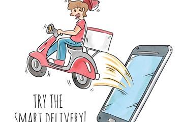 彩绘跳出手机的快递员矢量素材