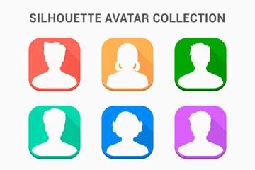 9款彩色无表情人物头像矢量图