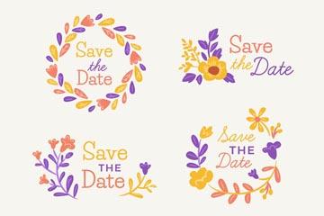 4款彩色花卉婚礼标签矢量图