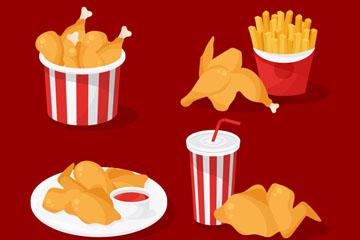 4款美味炸鸡设计矢量素材