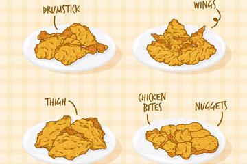 4盘手绘美味炸鸡矢量素材