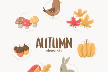 7款可爱秋季元素贴纸矢量素材