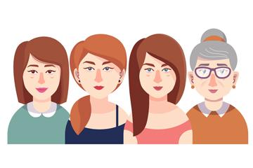 4款创意女子半身像设计矢量图