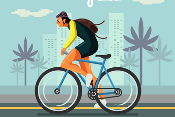 创意骑单车健身的男子矢量素材