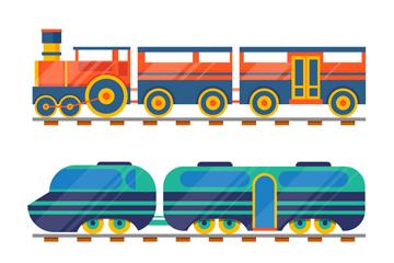 3款彩色火车设计矢量素材