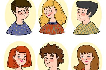 6款彩绘人物半身像矢量素材