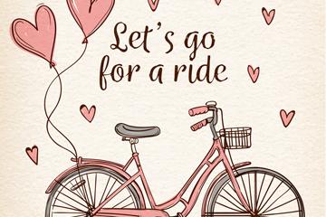 彩绘爱心气球和单车矢量素材