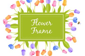 扁平化郁金香花框架矢量素材