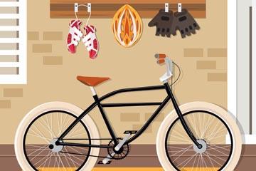 创意单车和装备矢量素材