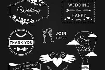 7款白色婚礼标签设计矢量图