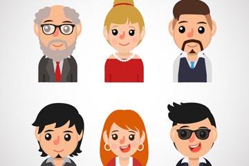6款卡通微笑人物半身像矢量图