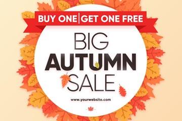 精致秋季树叶促销海报矢量素材
