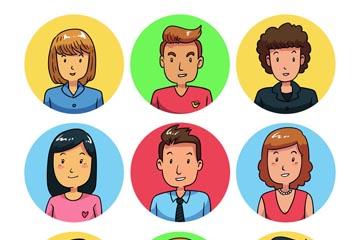9款微笑人物半身像矢量素材