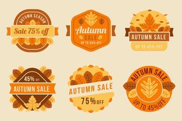 6款橙色秋季促销标签矢量素材
