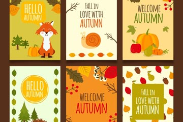 6款秋季动植物卡片矢量素材