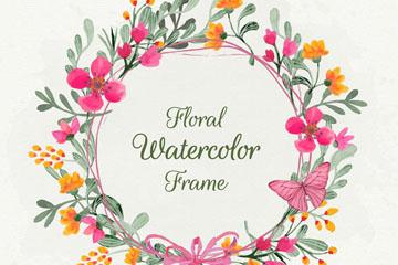彩绘花卉框架设计矢量素材