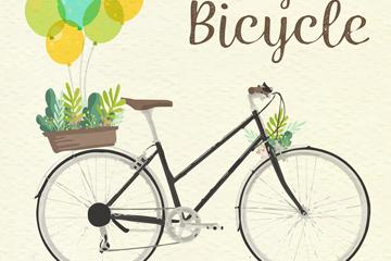 复古彩绘单车设计矢量素材
