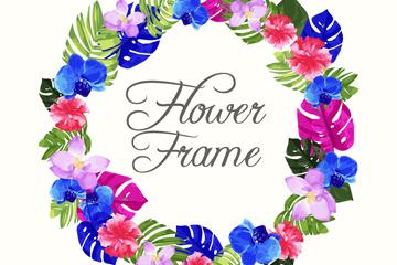 水彩绘热带花草框架矢量素材