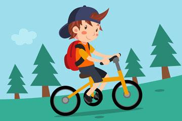 卡通骑自行车上学的男孩矢量图