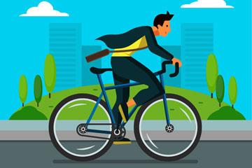 创意骑单车上班的男子矢量素材