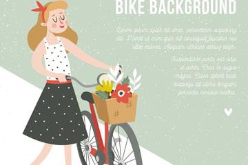 创意推单车散步的女子矢量素材