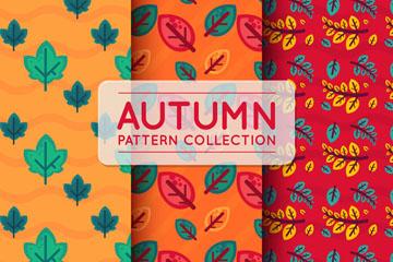 3款彩色秋季树叶无缝背景矢量图