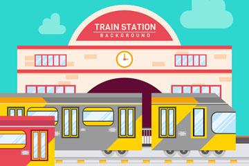 彩色时尚火车站设计矢量素材