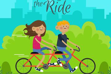 创意骑双人自行车的情侣矢量素材