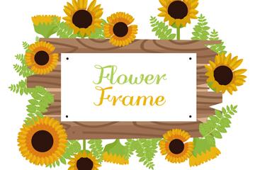 创意向日葵花框架矢量素材