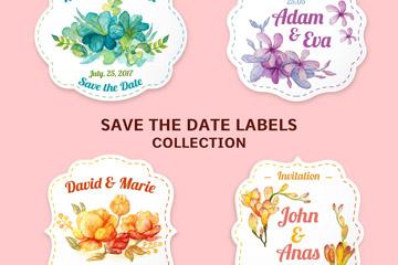 4款水彩绘花卉婚礼标签矢量图