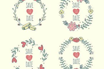 4款彩色花环婚礼标签矢量素材