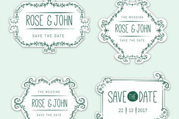 4款清新花纹婚礼标签矢量素材