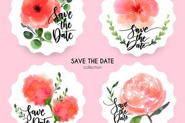 4款水彩绘红色花卉婚礼标签矢量图